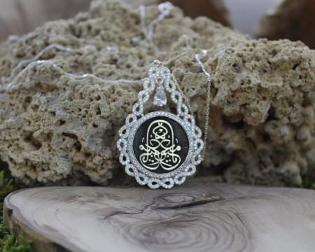 Tesbihane - Damla Tasarım Kişiye Özel Arapça İsim Yazılı 925 Ayar Gümüş Bayan Kolye