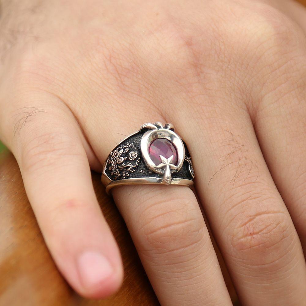 Son Osmanlı Yüzüğü - 925 Ayar Gümüş Ayyıldız Pençeli Yüzük