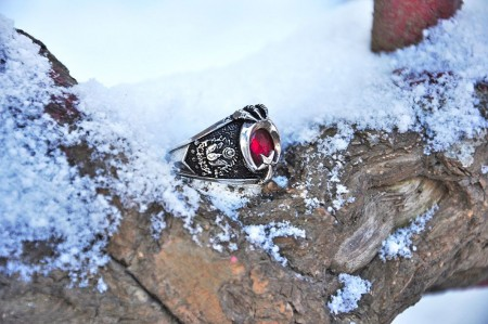 - Son Osmanlı Yüzüğü - 925 Ayar Gümüş Ayyıldız Pençeli Yüzük