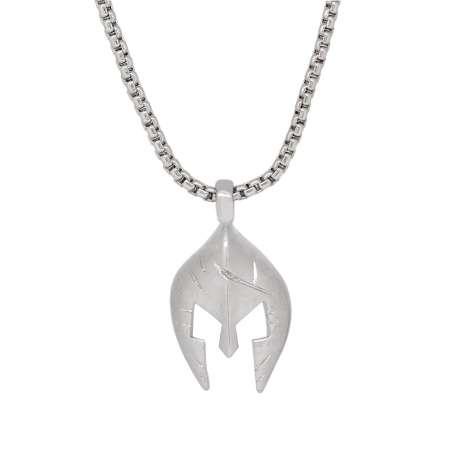Tesbihane - Şövalye Maske Tasarım Gümüş Renk Zincir Pirinç Kolye