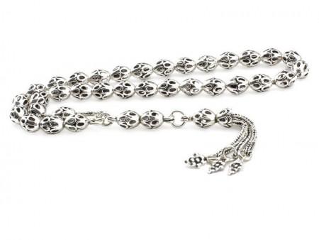 Tesbihane - Tamamı 925 Ayar Gümüş Arpa Model Tesbih
