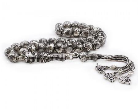 Tesbihane - Tamamı 925 Ayar Gümüş Tuğra Tasarım Tesbih