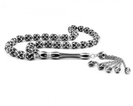 Tesbihane - Tamamı Gümüş Siyah Mineli Tesbih