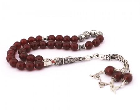 Tesbihane - 925 Ayar Gümüş Tuğra Püsküllü Küre Kesim İsim Yazılı Akik Tesbih