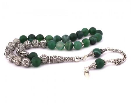 Tesbihane - 925 Ayar Gümüş Püsküllü Küre Kesim İsim Yazılı Yeşil Akik Tesbih