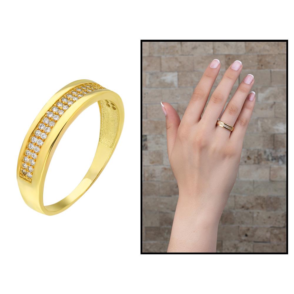 Tek Sıra Zirkon Taşlı Gold Renk 925 Ayar Gümüş Bayan Yüzük