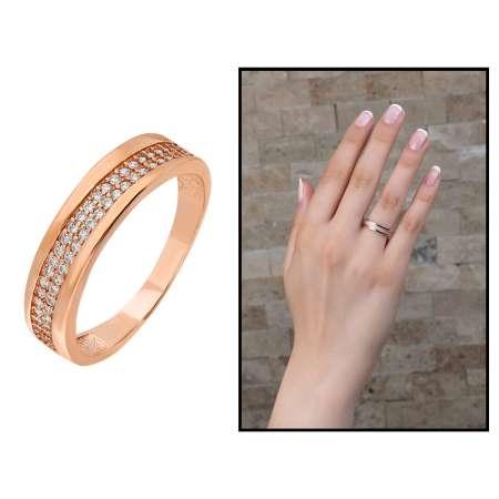 Tek Sıra Zirkon Taşlı Roz Renk 925 Ayar Gümüş Bayan Yüzük - Thumbnail