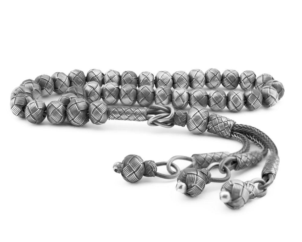 El İşçiliği Küre Kesim Bilek Boy Eskitme Renk 1000 Ayar Gümüş Kazaz Tesbih