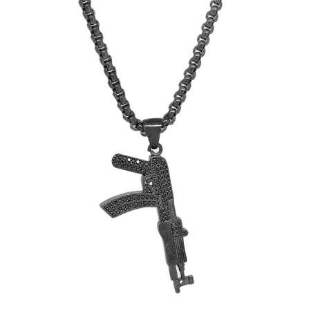 Tesbihane - Tüfek Tasarım Siyah Zirkon Taşlı Siyah Renk Zincir Pirinç Kolye