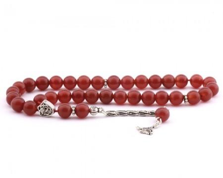 Tesbihane - 925 Ayar Gümüş Tuğra Püsküllü Küre Kesim Kırmızı Akik Tesbih