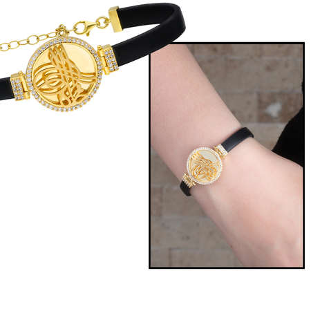 Tesbihane - Tuğra Motifli Zirkon Taşlı Gold Renk 925 Ayar Gümüş Bayan Bileklik
