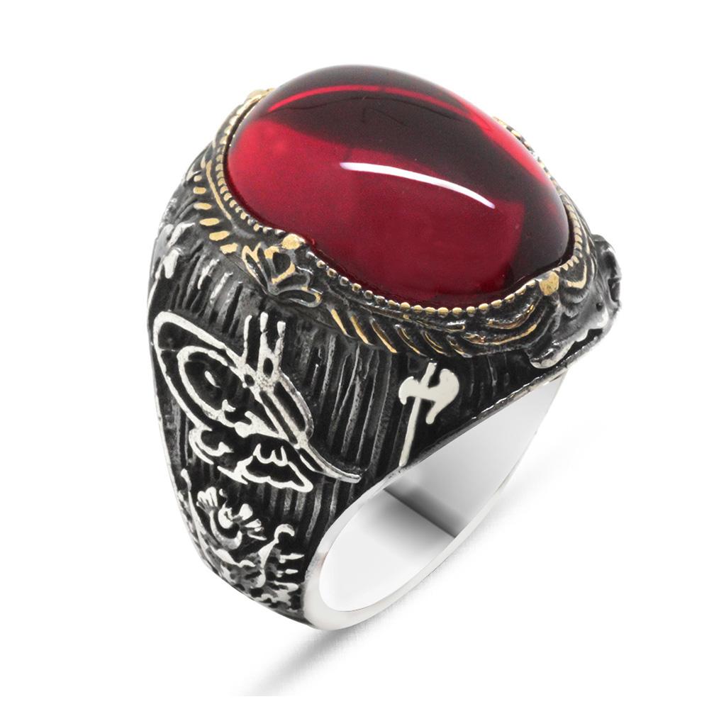 Tuğra ve Arma İşlemeli Kırmızı Ruby Taşlı 925 Ayar Gümüş Erkek Yüzük