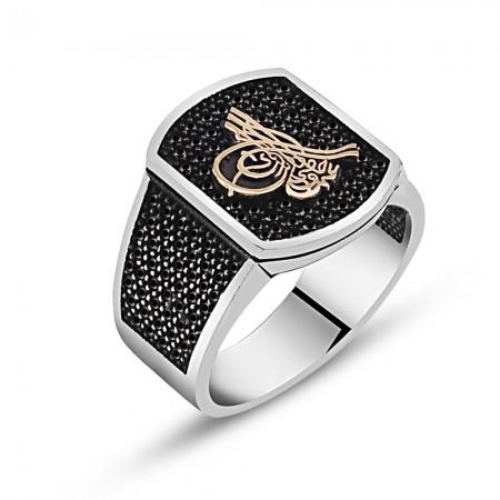 - Tuğra Yazılı Zirkon Taşlı Gümüş Yüzük (model 2)