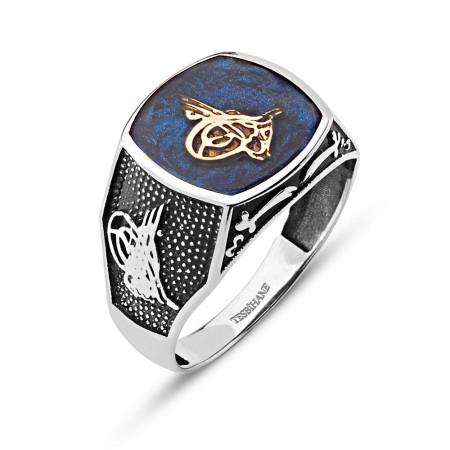 Tesbihane - Tuğralı 925 Ayar Gümüş Mavi Mineli Tuğra Yüzük