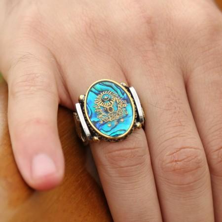 - Tuğralı Okyanus Sedefi Üzerine Altın Varak Devlet Armalı Gümüş Yüzük