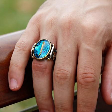 Tesbihane - Tuğralı Okyanus Sedefi Üzerine Altın Varaklı Elif Harfi Gümüş Yüzük