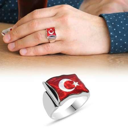 Tesbihane - Türk Bayrağı Motifli Kırmızı Mineli 925 Ayar Gümüş Erkek Yüzük