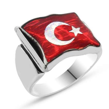 Türk Bayrağı Motifli Kırmızı Mineli 925 Ayar Gümüş Erkek Yüzük - Thumbnail