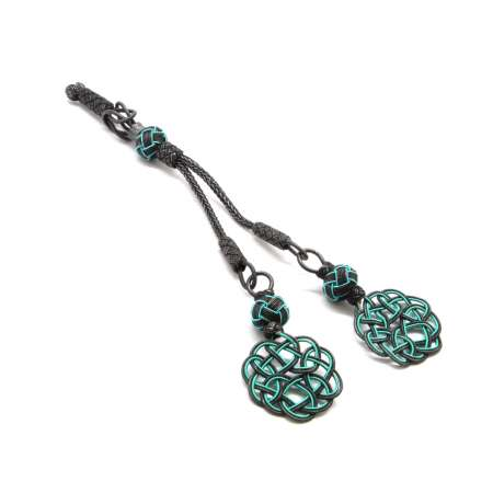 Tesbihane - Turkuaz-Siyah Renk 1000 Ayar Gümüş 2'li Kazaz Püskül