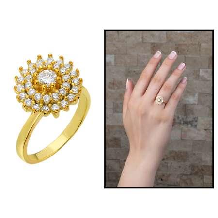 Tesbihane - Üç Sıra Zirkon Taşlı Halka Tasarım Gold Renk 925 Ayar Gümüş Bayan Yüzük