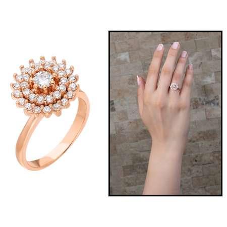 Üç Sıra Zirkon Taşlı Halka Tasarım Roz Renk 925 Ayar Gümüş Bayan Yüzük - Thumbnail