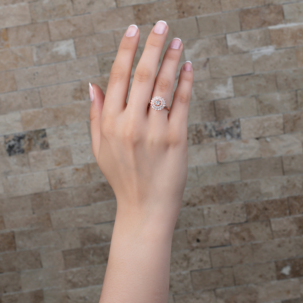 Üç Sıra Zirkon Taşlı Halka Tasarım Roz Renk 925 Ayar Gümüş Bayan Yüzük