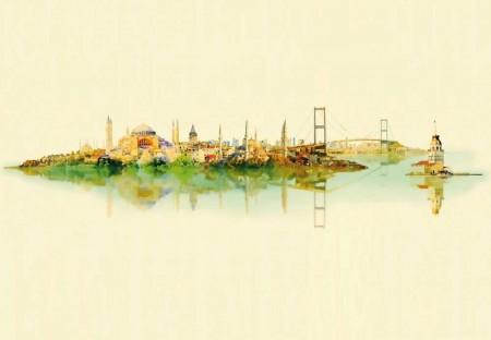 Uçtan Uca İstanbul Desenli Kanvas Tablo - Thumbnail