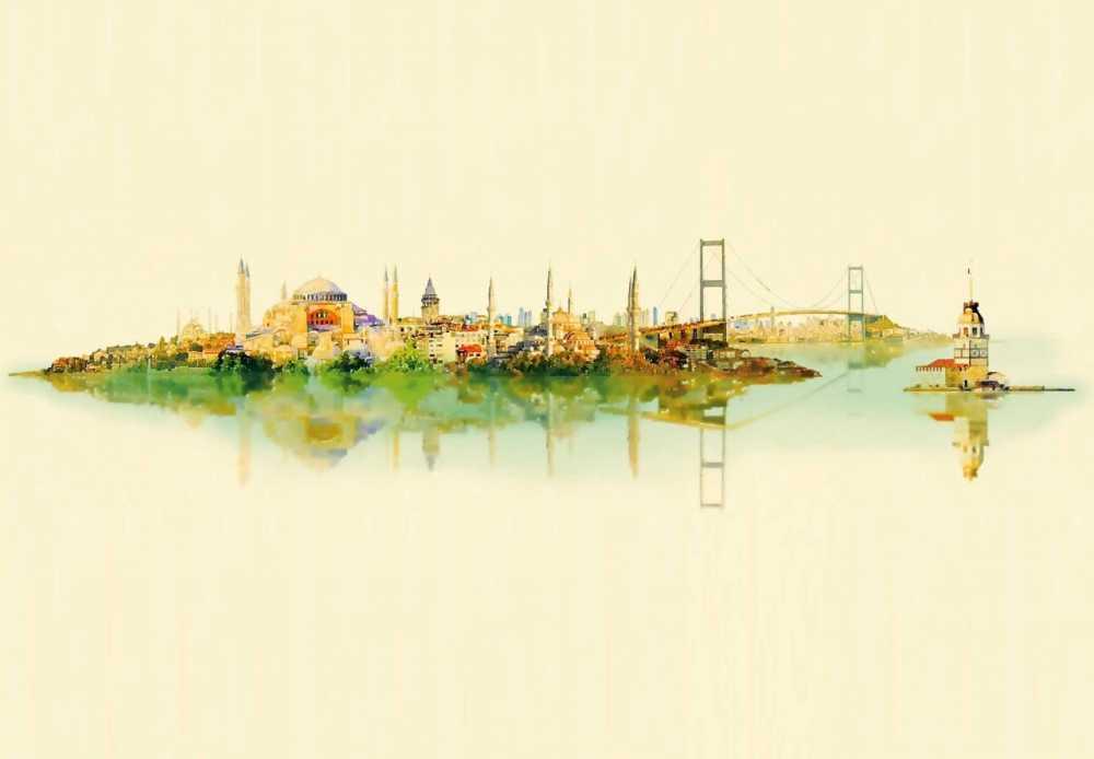 Uçtan Uca İstanbul Desenli Kanvas Tablo
