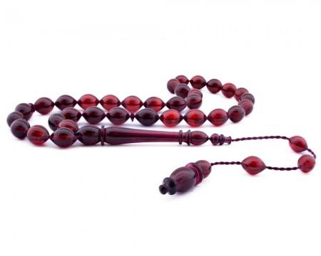 Tesbihane - Usta İşçiliği Arpa Kesim Kırmızı Bakalit Kehribar Tesbih - 2