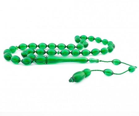 Tesbihane - Usta İşçiliği Arpa Kesim Yeşil Bakalit Kehribar Tesbih