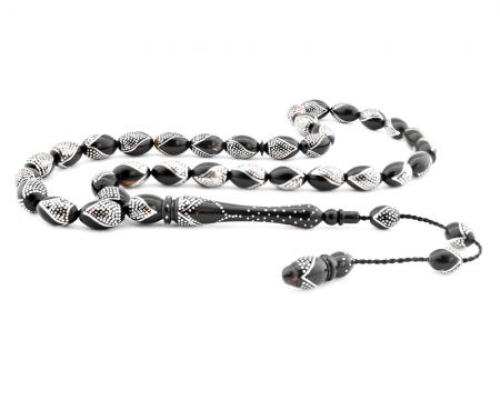 Tesbihane - Usta İşçiliği Gümüş İşlemeli Bağa Tesbih-2