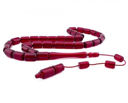 Tesbihane - Usta İşçiliği Kırmızı Bakalit Kehribar Tesbih(Kapsül)