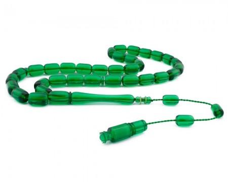 Tesbihane - Usta İşçiliği Yeşil Renk Bakalit Kehribar Tesbih