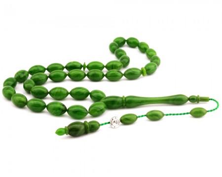 Tesbihane - Usta İşi (El İşçilikli) Opak Yeşil Sıkma Kehribar Tesbih
