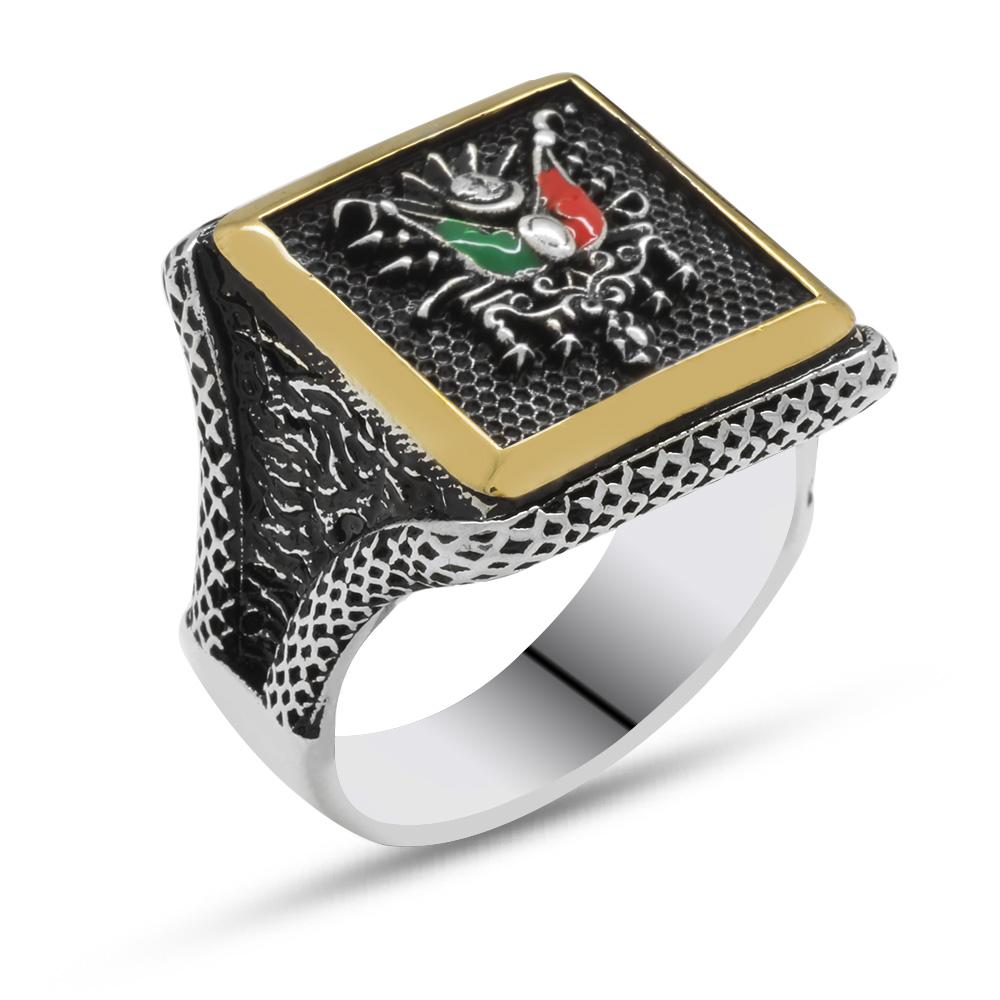 V tasarım Osmanlı Arma Motifli 925 Ayar Gümüş Erkek Yüzük