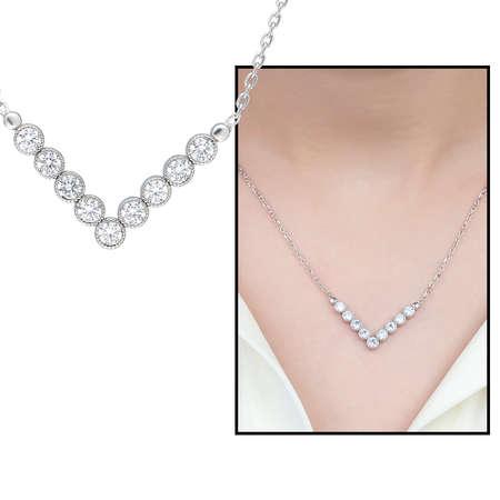 Tesbihane - V Tasarım Zirkon Taşlı Silver Renk 925 Ayar Gümüş Bayan Kolye