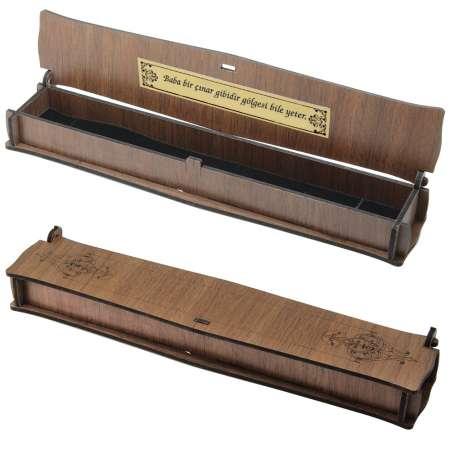 Tesbihane - Özel Mesaj Yazılı Kahverengi Ahşap Tesbih Kutusu (M-7)
