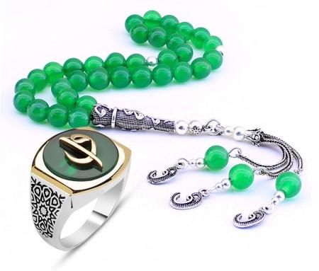 - Yeşil Akikli Gümüş Elif Vav Yüzük - Gümüş Elif Vav İmame-Püsküllü Akik Tesbih