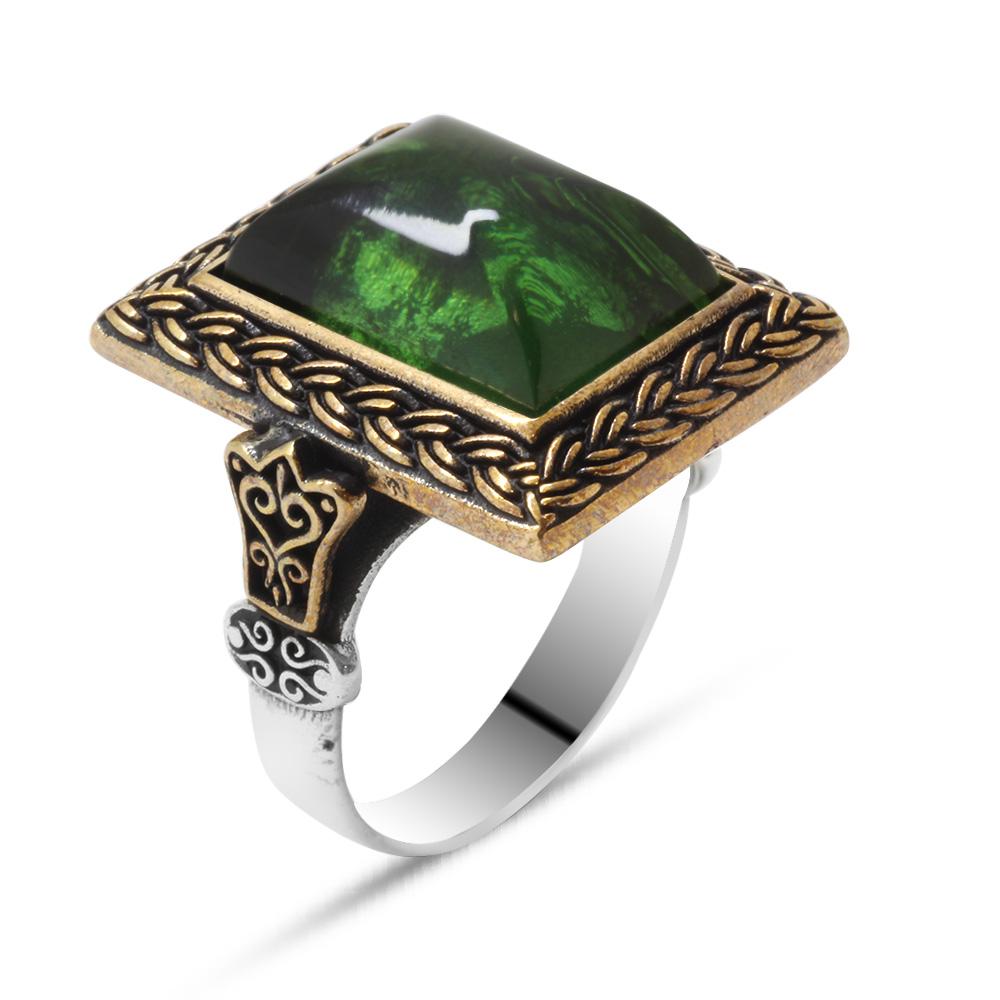 Yeşil Ateş Kehribar Taşlı Dörtgen Tasarım 925 Ayar Gümüş Erkek Yüzük