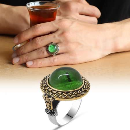 Tesbihane - Yeşil Ateş Kehribar Taşlı Yuvarlak Tasarım 925 Ayar Gümüş Erkek Yüzük