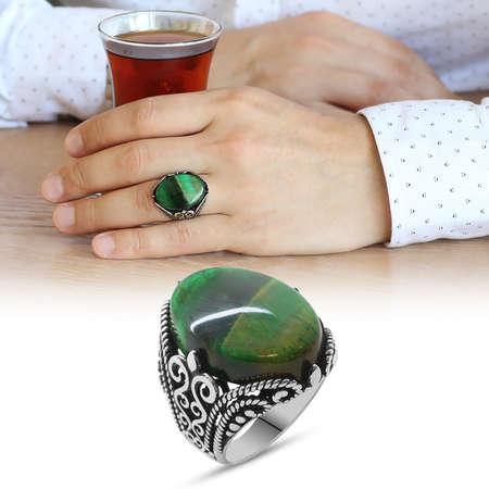 Tesbihane - Yeşil Kaplangözü Taşlı Ferforje Tasarım 925 Ayar Gümüş Erkek Yüzük