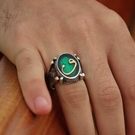 Tesbihane - Yeşil Mine Üzerine Vav Harfli 925 Ayar Gümüş Oval Yüzük