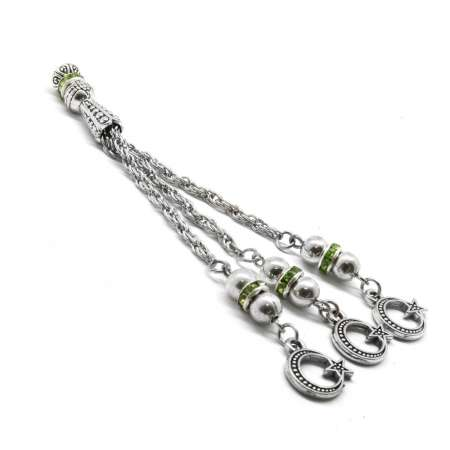 Tesbihane - Yeşil Zirkon Taşlı Kararmaz Metal Püskül