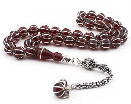 Tesbihane - Yoğun Gümüş İşlemeli Kartal Pençeli Kehribar Tesbih