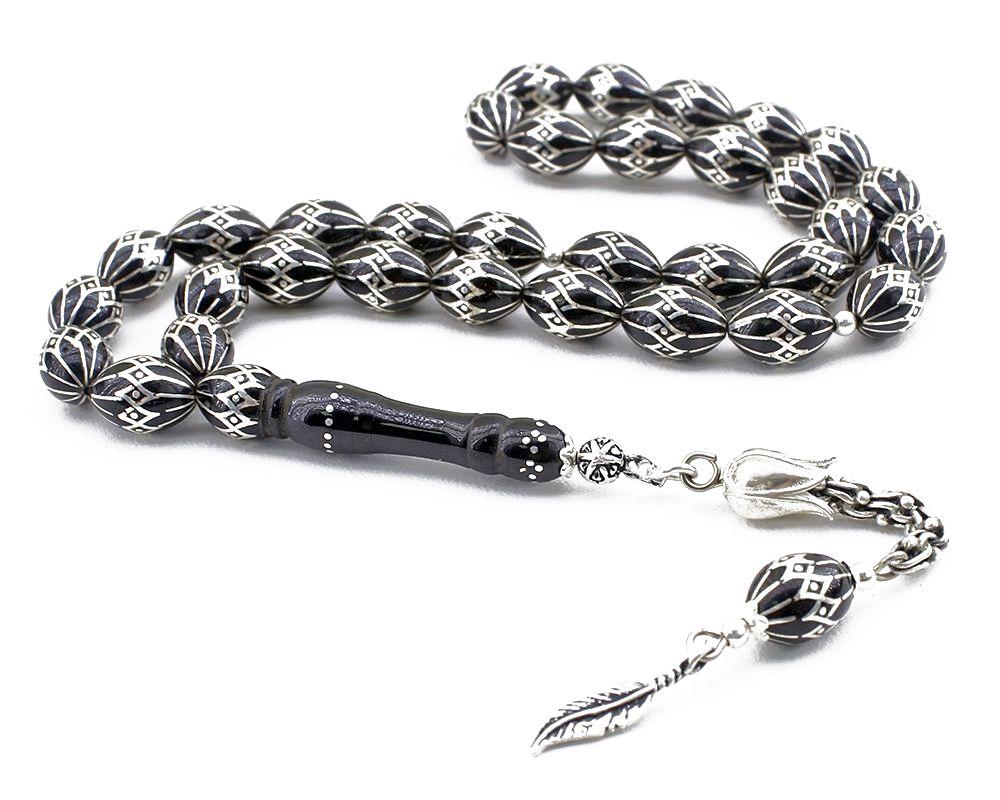925 Ayar Gümüş Arnavut Püsküllü Gümüş İşlemeli Erzurum Oltu Taşı Tesbih
