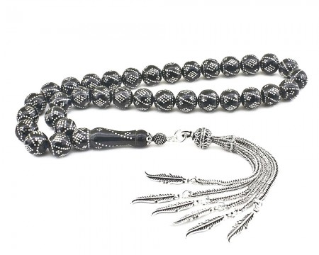 Tesbihane - 925 Ayar Gümüş Püsküllü Gümüş Yüzlerce İşlemeli Erzurum Oltu Taşı Tesbih