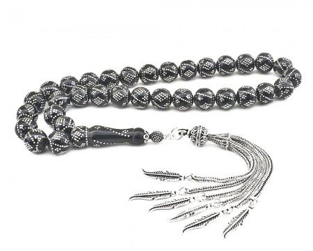 - 925 Ayar Gümüş Püsküllü Gümüş Yüzlerce İşlemeli Erzurum Oltu Taşı Tesbih
