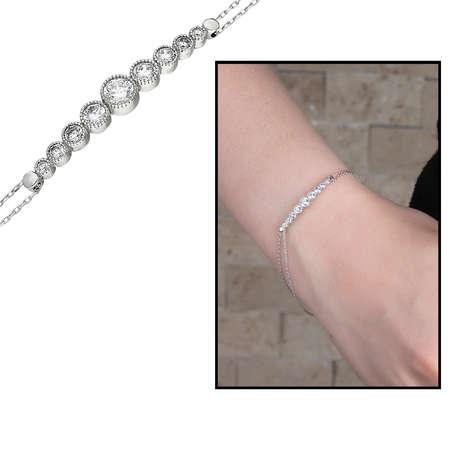 Tesbihane - Zarif Tasarım Zirkon Taşlı 925 Ayar Gümüş Bayan Bileklik