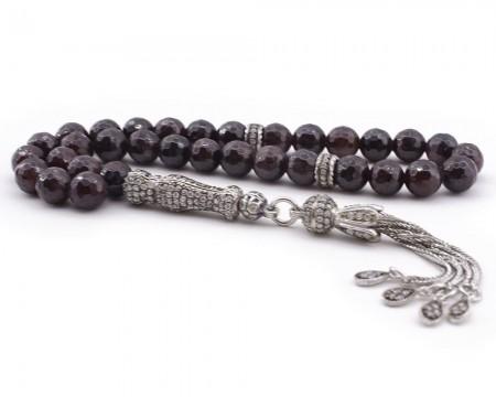 Tesbihane - Zirkon Taşı Süslemeli Gümüş İmame ve Püsküllü Fasetalı Kesim Lal Taşı Tesbih
