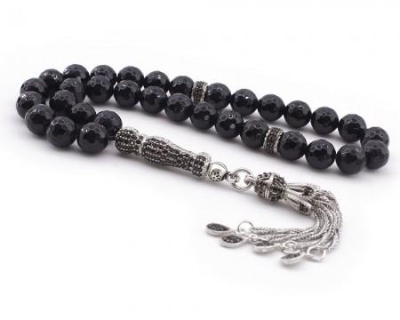 Tesbihane - Zirkon Taşı Süslemeli Gümüş İmame ve Püsküllü Fasetalı Kesim Oniks Tesbih